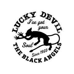 Vintage label Demon logo template. Vector illustration.