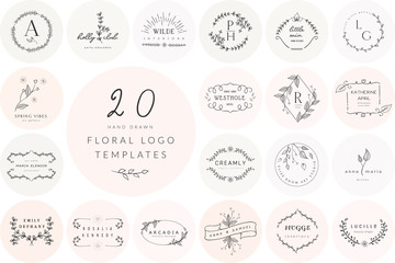 Vector Hand Drawn Floral Logo Templates Collection. with Doodle Flowers and Branches. Flowered Design Elements. Brand Identity