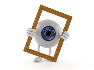 Eye ball character holding picture frame