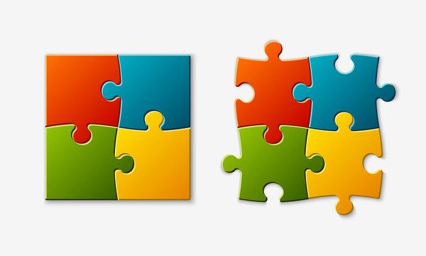 Set puzzle pieces. Texture mosaic infographic banner.