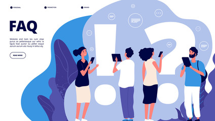 Faq landing page. Confusion people ask frequent question, get answer. Questioning persons, problem solution useful quiz vector concept. Illustration of faq web page, question and answer