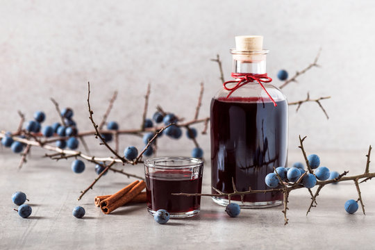 Homemade sloe berry alcohol drink, berries liqueur. Selective focus. Copy space.