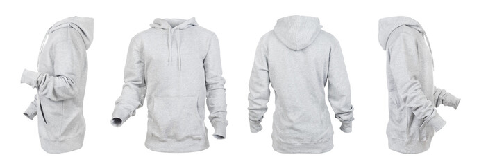 Blank gray hoodie leftside, rightside, frontside and backside isolated on a white background