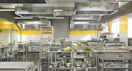 Industrial kitchen. Restaurant modern kitchen. 3d illustration Wall mural
