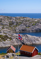 Foto op Aluminium Arctica Houses next to lighthouse of lindesnes in Norway