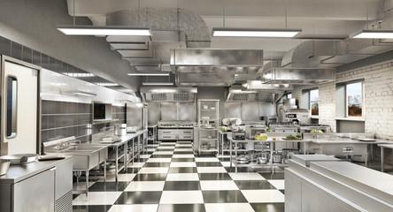 In de dag Restaurant Restaurant equipment. Modern industrial kitchen. 3d illustration