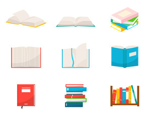 Books flat vector illustrations set
