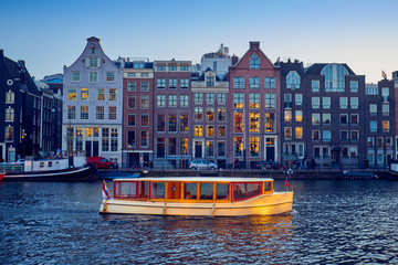 Photo sur Plexiglas Amsterdam View of the canals in Amsterdam. Netherlands..