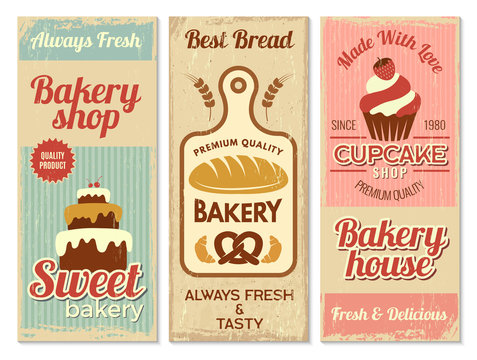 Bakery banners. Sweet cakes kitchen logotype for cooking projects vector restaurant menu template. Cake banner and bakery banner shop illustration