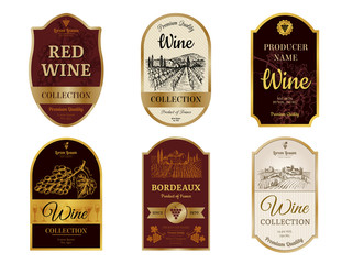 Wine vintage labels. Alcohol wine champagne drinks badges luxury style with pictures of vineyard silhouettes and grapes vector pictures. Illustration of alcohol drink wine, vineyard label for beverage Wall mural