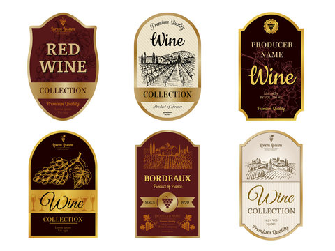 Wine vintage labels. Alcohol wine champagne drinks badges luxury style with pictures of vineyard silhouettes and grapes vector pictures. Illustration of alcohol drink wine, vineyard label for beverage