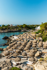 Kallithea Spring and Beach at Turquoise Sea , Sunny Day, Rhodes,Greece