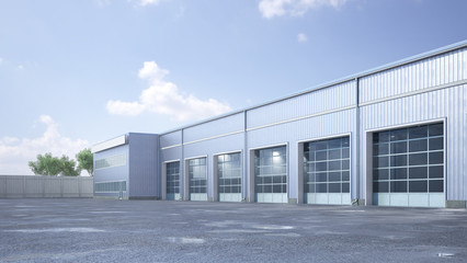 Hangar exterior with rolling gates. 3d illustration Fototapete