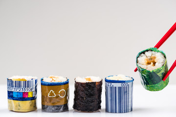 Sushi Wrapped in Plastic. Ocean Pollution And Environmental Conservation Concept