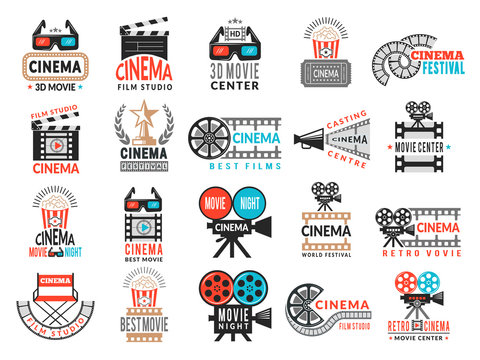 Cinema badges. Movie production symbols camera director chair film tape vector logo collection. Illustration of movie cinema, world premiere and festival film