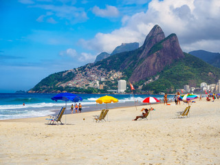 Fotomurales - Ipanema beach, Leblon beach and mountain Dois Irmao (Two Brother)  in Rio de Janeiro, Brazil