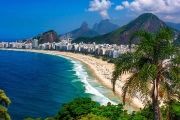 Photo sur Plexiglas Rio de Janeiro Copacabana beach in Rio de Janeiro, Brazil. Copacabana beach is the most famous beach of Rio de Janeiro, Brazil