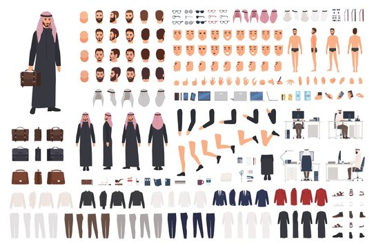 Arab businessman in traditional formal clothes DIY set or avatar kit. Bundle of body parts, postures, hairstyles, outfits. Male cartoon character. Front, side, back views. Flat vector illustration.