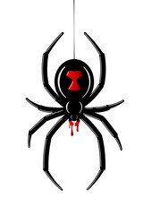 Spider Black Widow. Red black bug spider 3D, isolated white background. Scary Halloween redblack icon, symbol horror, animal arachnid, creepy dangerous insect, arachnophobia fear. Vector illustration