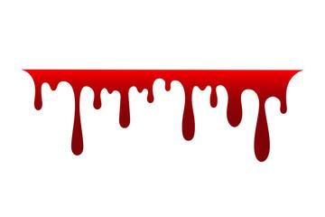 Blood drip. Drop blood isloated white background. Happy Halloween decoration design. Red splatter stain, splash spot, horror blot. Bleeding bloodstain scare texture. Liquid paint. Vector illustraton Fototapete