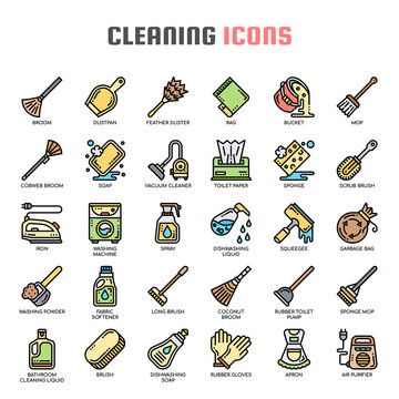 Cleaning , Thin Line and Pixel Perfect Icons