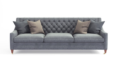 Fototapeta Modern scandinavian classic gray sofa with legs with pillows on isolated white background. Furniture, interior object, stylish sofa obraz