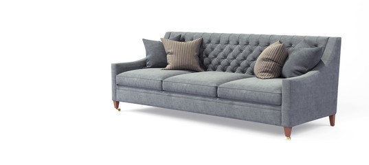 Modern scandinavian classic gray sofa with legs with pillows on isolated white background. Furniture, interior object, stylish sofa