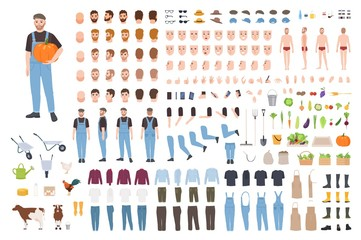 Farmer or agricultural worker avatar set or DIY kit. Bundle of male character body parts, clothes, emotions, working tools, vegetables isolated on white background. Flat cartoon vector illustration.