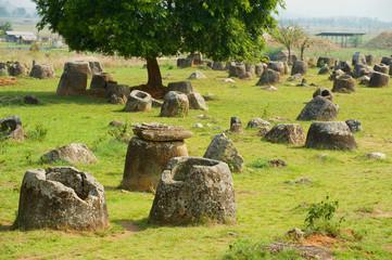 Ancient stone jars in a Plain of Jars (Site #1) near Phonsavan, Xienghouang province, Laos..