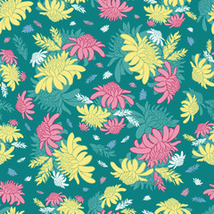 Vector teal green seamless pattern with tropical torch ginger flowers. Suitable for textile, gift wrap and wallpaper.