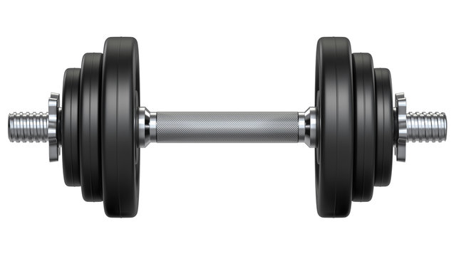 Black rubber metal Dumbbell with shadow. 3d rendering illustration isolated on white background. Gym, fitness and sports equipment symbol