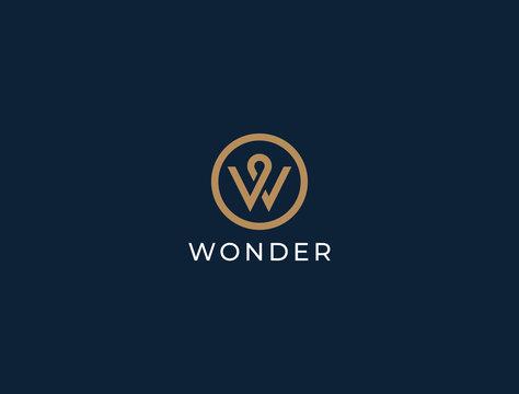 Unique modern geometric creative elegant letter W logo template. Vector icon.