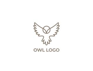 Wall Murals Owls cartoon Modern minimal owl illustration. Linear owl logo.