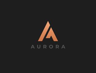 Unique modern geometric creative elegant letter A logo template. Vector icon.