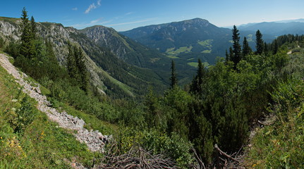 View of the valley between Rax and Schneealpe in Lower Austria, Europe
