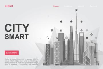 Futuristic city skyscrapers landing page vector template