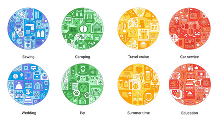 Round color flat line concept of sewing, camping, travel cruise, car service, summer time, wedding, entertainment, pet icons. Vintage stroke vector icons set for cover, emblem, badge, flyers, posters.