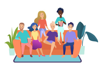 Happy friends watching television together sitting on the couch at home isolated vector illustration. Group of people watching TV.