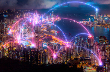 Wall Mural - Connection and  wireless network technology with Hong Kong city.smart city,internet of things,big data,Fin tech