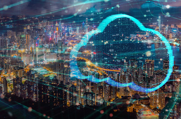 Wall Mural - Clouds computing technology futuristic design double exposure with Hong Kong city