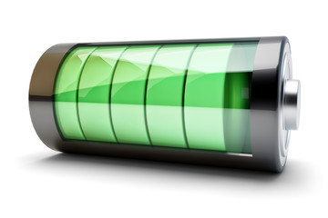 Power source charging concept, accumulator battery with green charging level indicator isolated on white