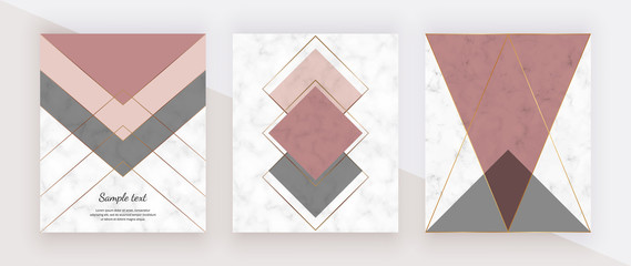 Marble geometric design with pink and grey triangular, golden polygonal lines. Modern background for wedding invitation, banner, card, flyer, poster, save the date