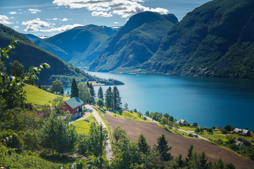 Norway fjord shore, Aurland fjord, beautiful Scandinavian landscape, travel to Norway Wall mural