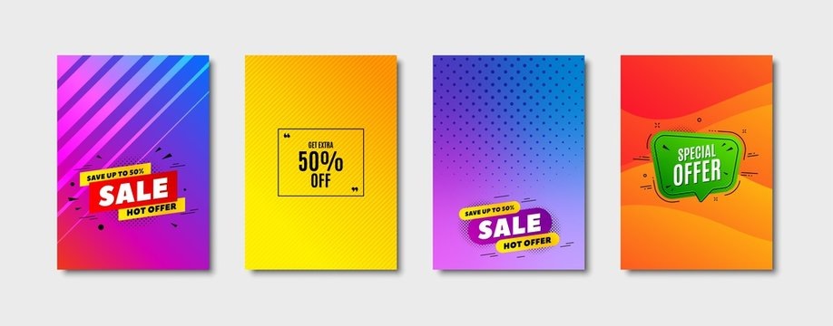 Get Extra 50% off Sale. Cover design, banner badge. Discount offer price sign. Special offer symbol. Save 50 percentages. Poster template. Sale, hot offer discount. Flyer or cover background. Vector