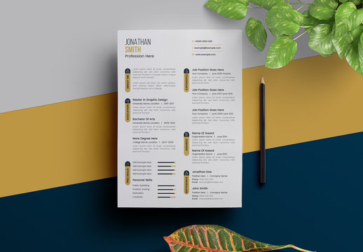 Resume Layout with Icon Bars and Gold Accents