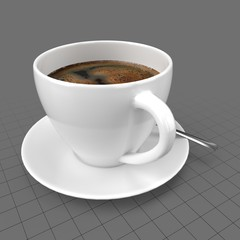 Americano coffee in cup with saucer
