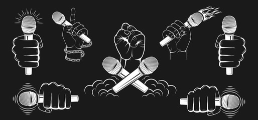 Set of logos. A hand is holding a microfone. Vector graphics.
