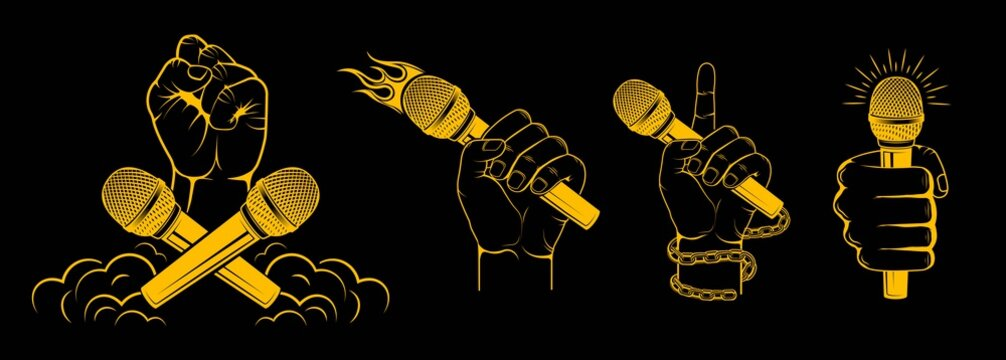 Vector logo. Set, collection. Hands holding a microphone. Design element for printing.