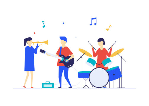 Children playing music - flat design style illustration