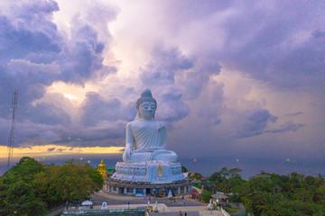 purple sky behind Phuket big Buddha